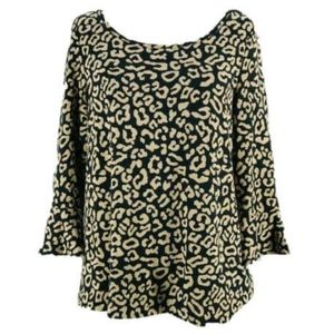Postmark Anthropologie Animal Print Flounce Top